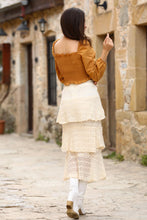Load image into Gallery viewer, Women's Frill Cream Lace Skirt
