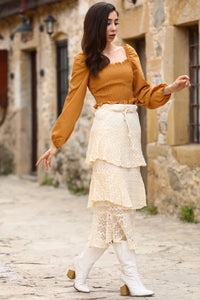 Women's Frill Cream Lace Skirt