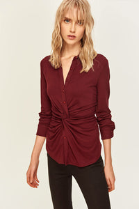 Buttons Detail Claret Red Knit Blouse