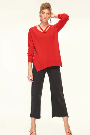 Detailed Collar Vermilion Tricot Pullover