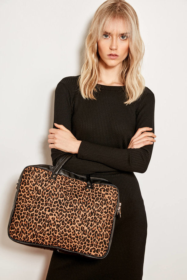 Women's Leopard Patterned Black Laptop Bag