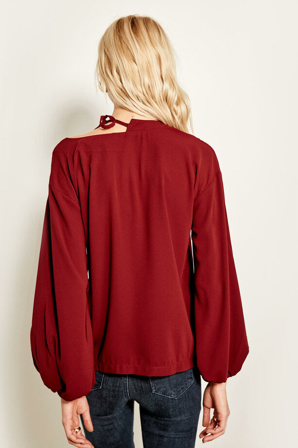 Women's Neck Detailed Claret Red Blouse