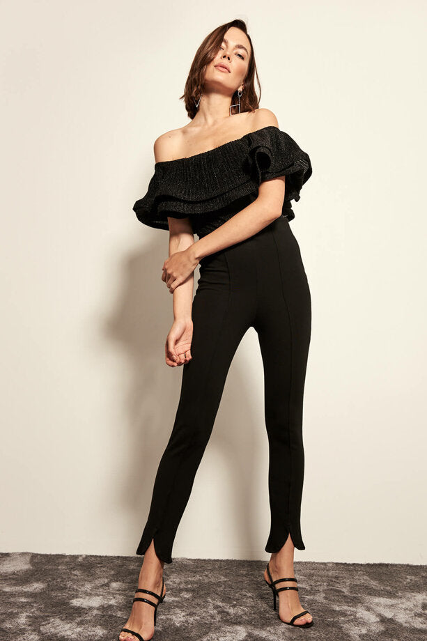 Black Leg Detail One Size Thinner Pants