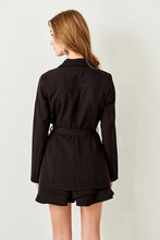 Load image into Gallery viewer, Button & Tie Detail Black Jacket