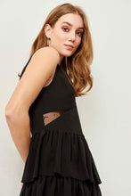 Load image into Gallery viewer, Frilled Black Evening Dress