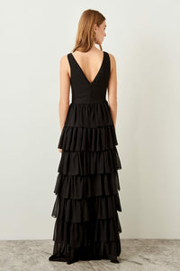 Frilled Black Evening Dress