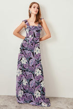 Floral Patterned Evening Dress