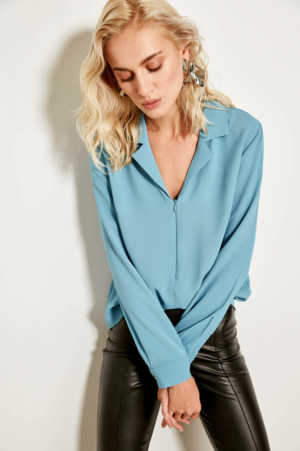 Blue Zipped Detail Blouse