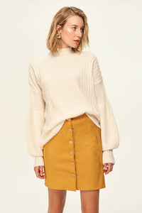 Button Detail Mustard Suede Skirt
