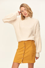 Load image into Gallery viewer, Button Detail Mustard Suede Skirt