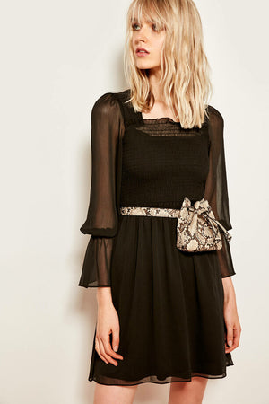 Women's Gimped Black Dress