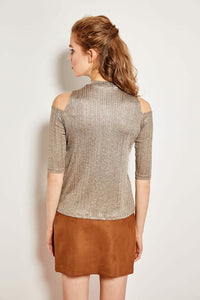 Cut Out Detail Knit Mink Blouse