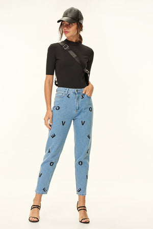 Blue Love Printed High Waist Mom Jeans