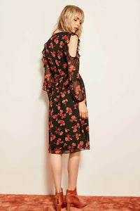 Shoulders Detailed Wrap Multi-color Dress