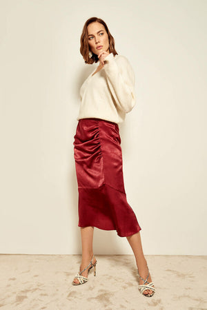 Women's Claret Red Classic Skirt
