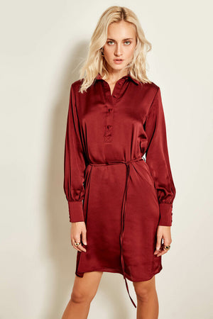 Claret Red Button Detail Dress