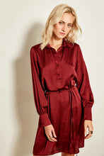 Load image into Gallery viewer, Claret Red Button Detail Dress