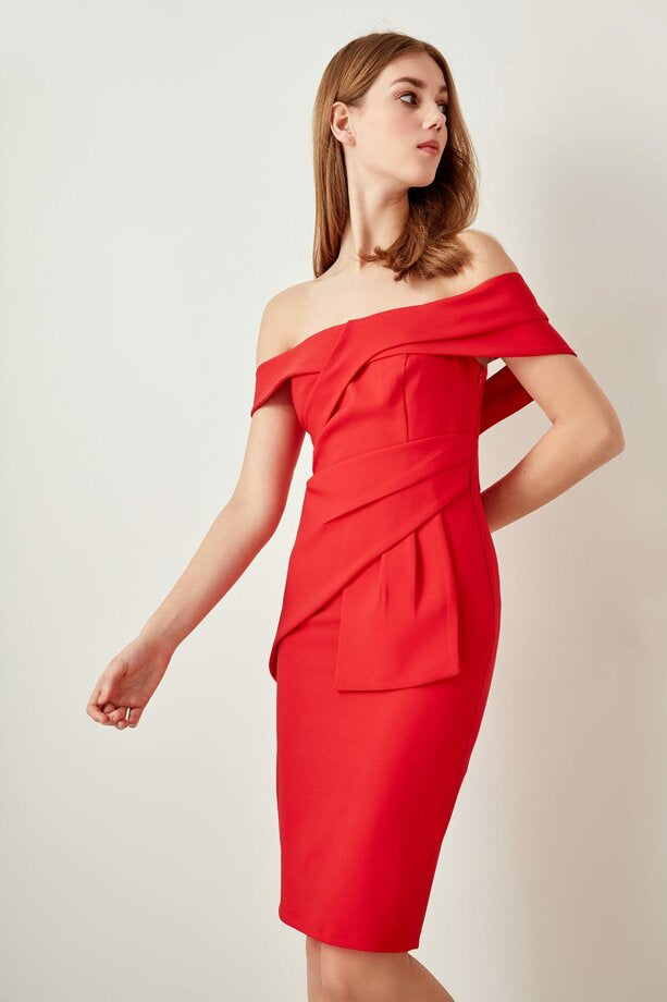 Drape Detail Red Dress