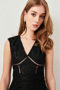 Ruffled Black Lace Dress