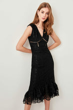 Load image into Gallery viewer, Ruffled Black Lace Dress