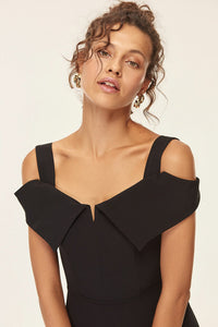 Black Neck Detailed Dress