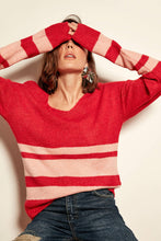 Load image into Gallery viewer, Red Striped Tricot Pullover
