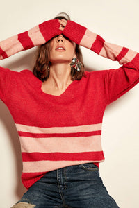 Red Striped Tricot Pullover