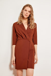 Button Detail Brown Dress