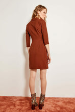 Load image into Gallery viewer, Button Detail Brown Dress