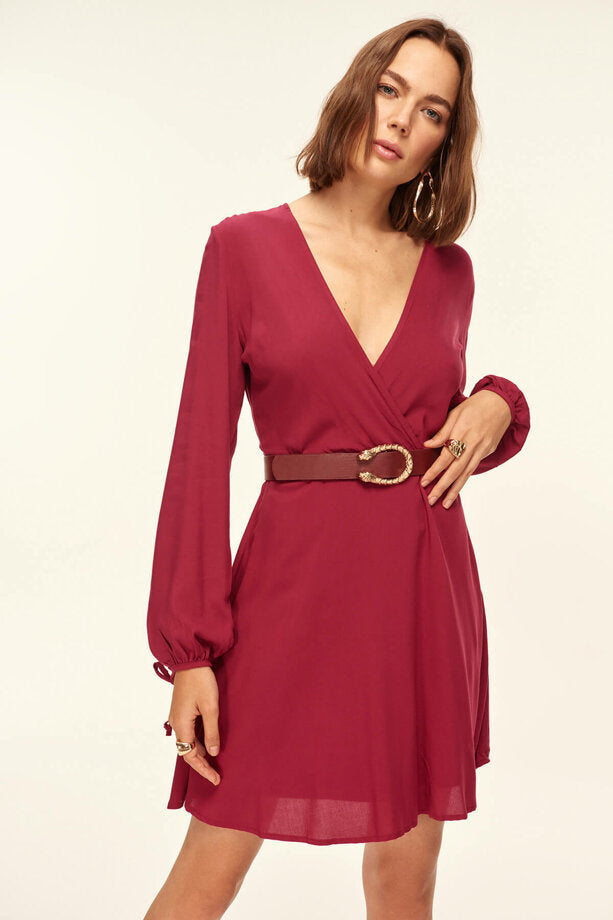 Basic Belted Waist Purple Dress