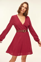 Load image into Gallery viewer, Basic Belted Waist Purple Dress