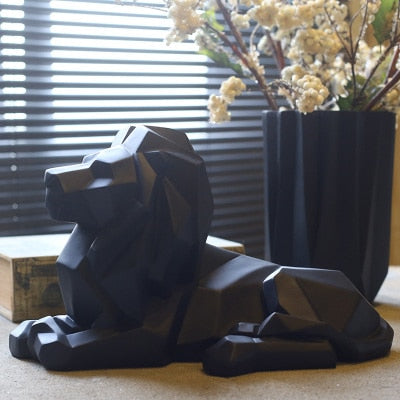 Geometric Abstract Lion Statue