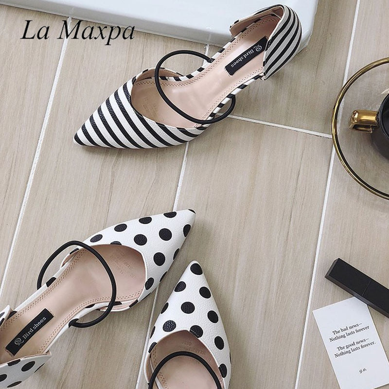Polka Dot Pointed Toe Sandals - Pat&Sons