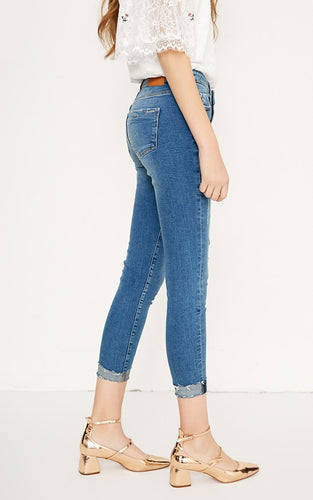 Ripped Cropped Slim Strech Jeans