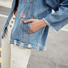 Load image into Gallery viewer, Riped Raw-edge Hooded Denim Coat