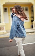 Riped Raw-edge Hooded Denim Coat