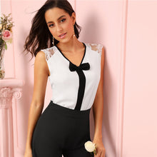 Load image into Gallery viewer, Black Bow V Neck Blouse
