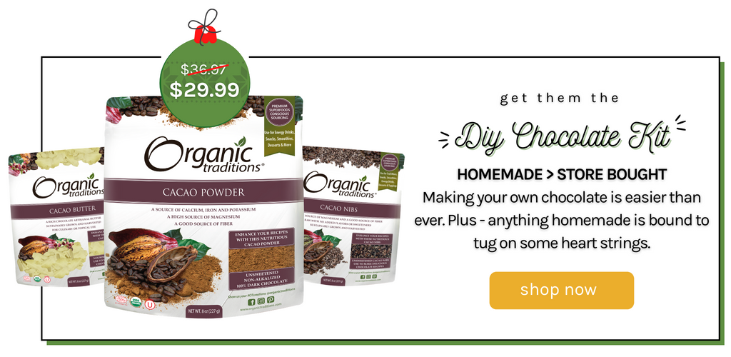 Diy chocolate kit bundle organic traditions superfood bundle with cacao powder cacao nibs and cacao butter