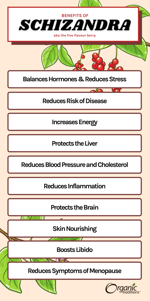 list of benefits of schizandra