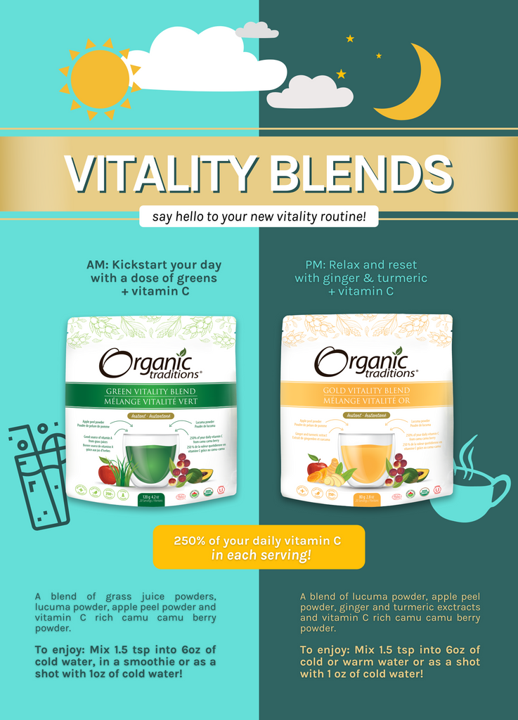 organic green vitality blend and organic gold vitality blend routine infographic by organic traditions