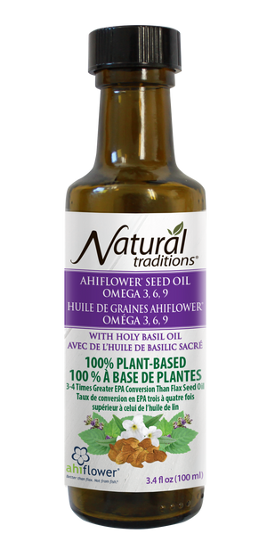 natural traditions ahiflower oil with holy basil canadian front of bottle image