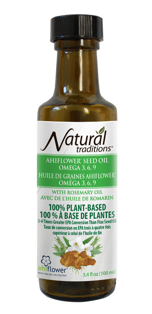 natural traditions ahiflower oil with rosemary canadian front of bottle image