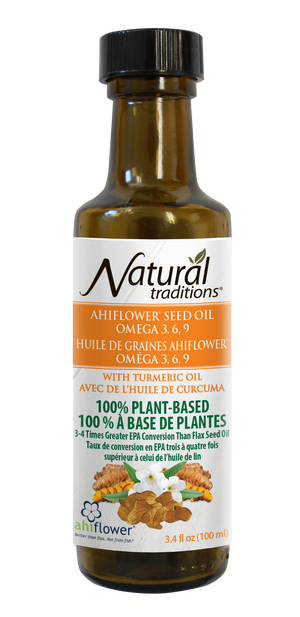 natural traditions ahiflower oil with turmeric canadian front of bottle image
