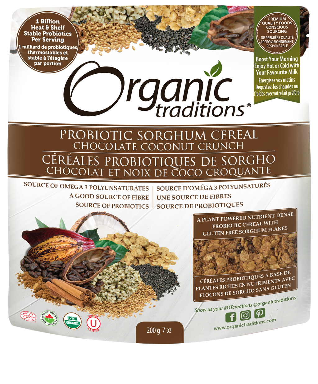 organic probiotic sorghum cereal chocolate coconut crunch by organic traditions canadian front of bag image
