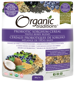 organic probiotic sorghum cereal triple berry blend by organic traditions canadian front of bag image