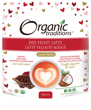 organic red velvet latte by organic traditions canadian front of bag image