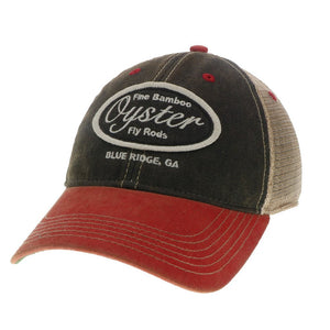 Black and red Legacy Old favorite trucker Hat Oyster Bamboo Fly Rods