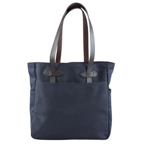 Navy Blue Filson Tote bag without zipper oyster bamboo fly rods