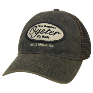 black greaser trucker hat oyster bamboo fly rods