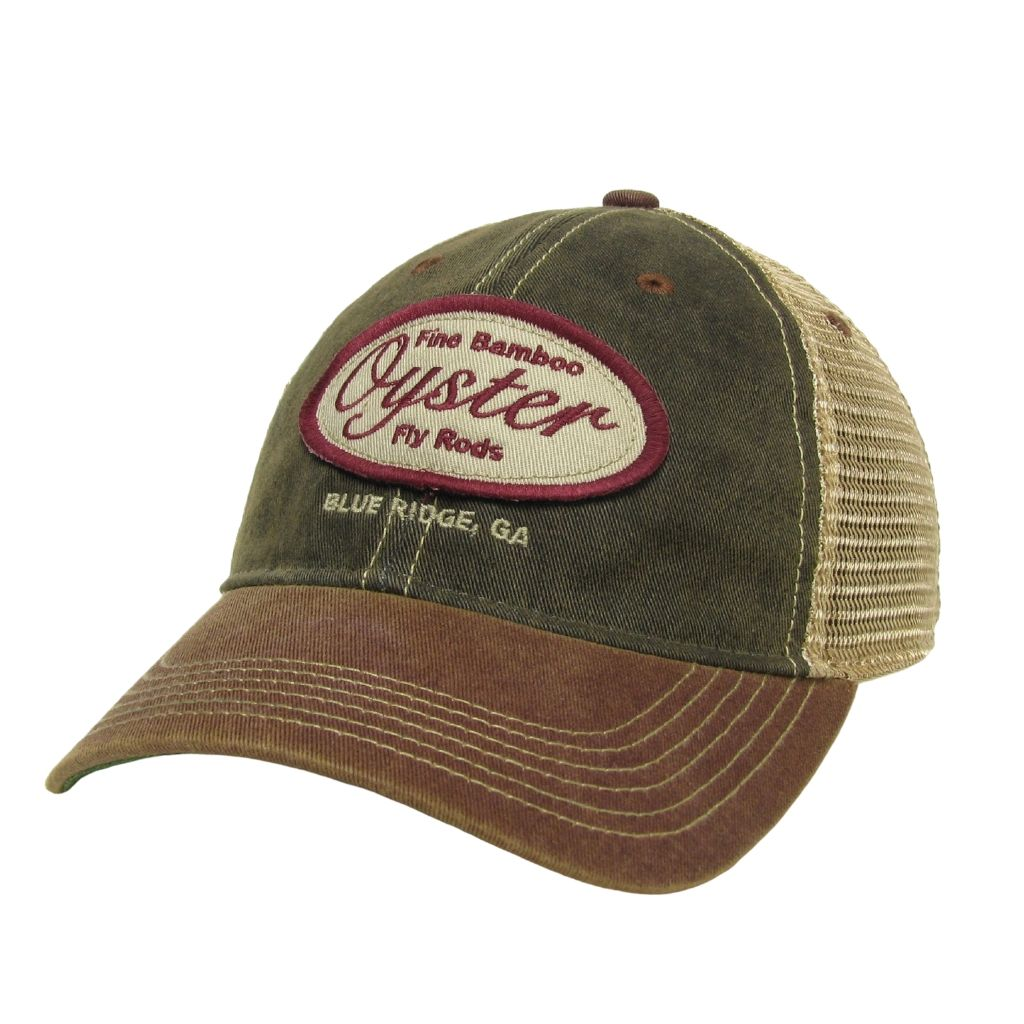 black and burgundy legacy old favorite trucker hat oyster bamboo fly rods